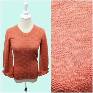 Vintage 70s Coral Diamond Knit Sweater Blouse NOS